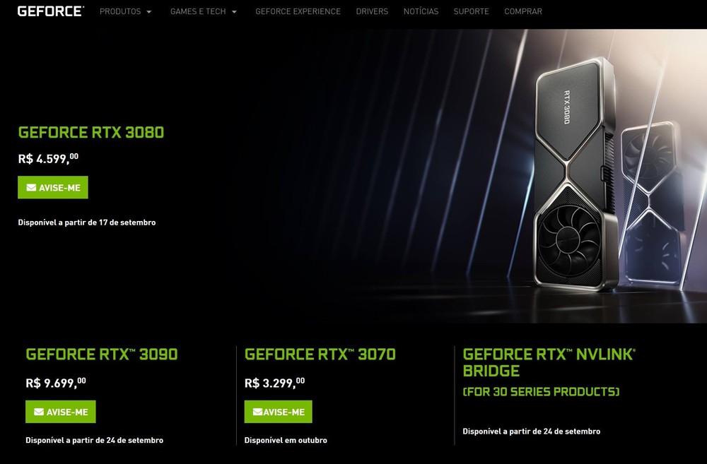 lançamento geforce rtx 3090, 3080 e 3070
